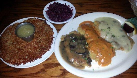 Lake Zurich, IL: schnitzel trio (Jaeger, fried & paprika-rahm) with potato pancake & red cabbage