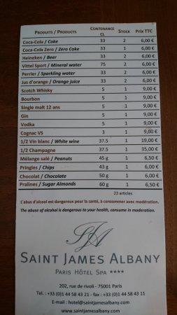 Saint James Albany Hotel-Spa : Mini bar price list