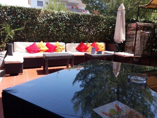 Hotel Los Globos: terrasse de l'hôtel où nous prenions notre petit déjeuner