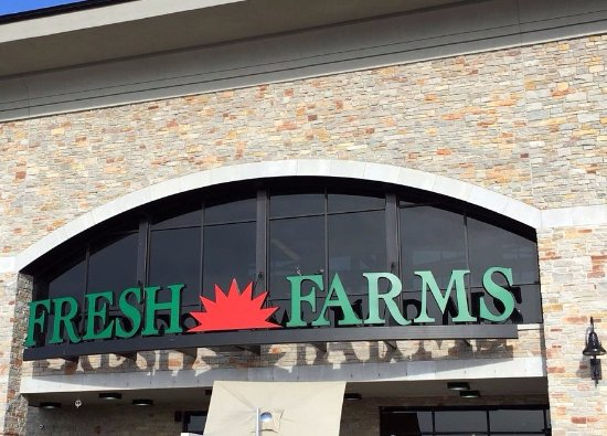 Niles, IL: sign over the entrance at Fresh Farms