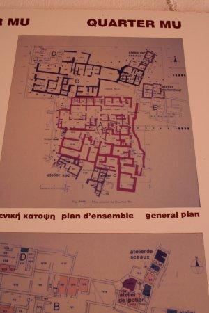 Malia Minoan Palace: Plan of Quartier Mu in the information cemtre