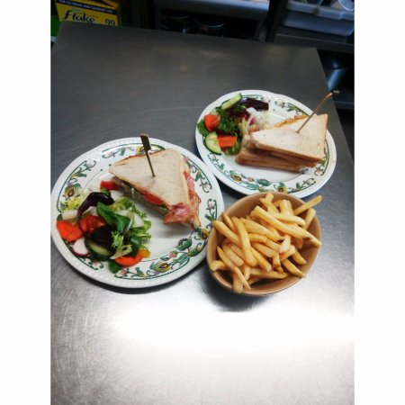 Taunton, UK: pines club sandwich with premium fries...