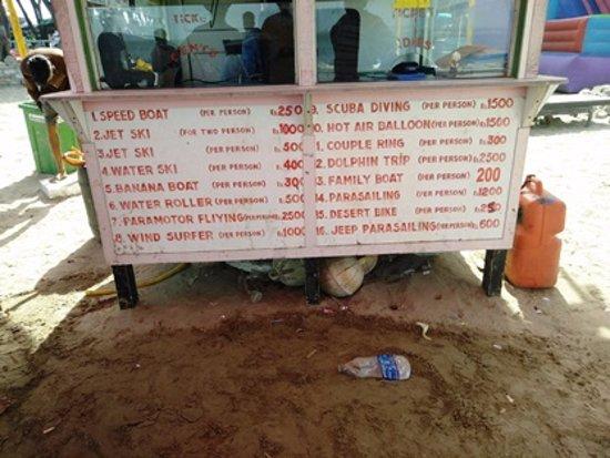 Nagoa Beach: Rate List of Vijay Water Sports
