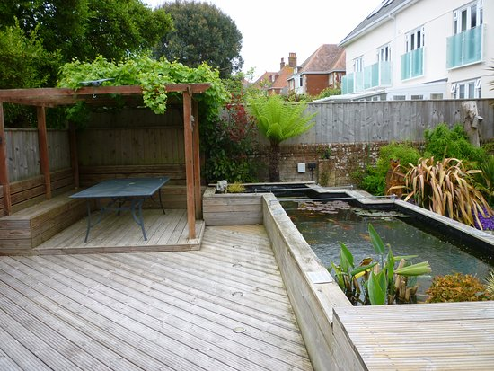 The Swanage Haven: Hotel garden, view from Hot Tub