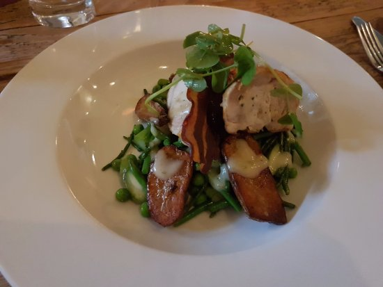 Buckingham, UK: Ballotine of chicken which had a chive and truffle stuffing