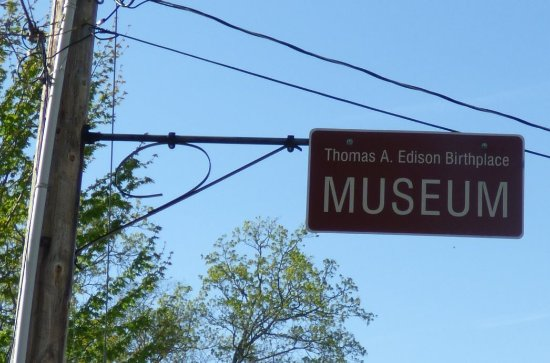 Milan, OH: Edison Museum Sign on Telephone Pole