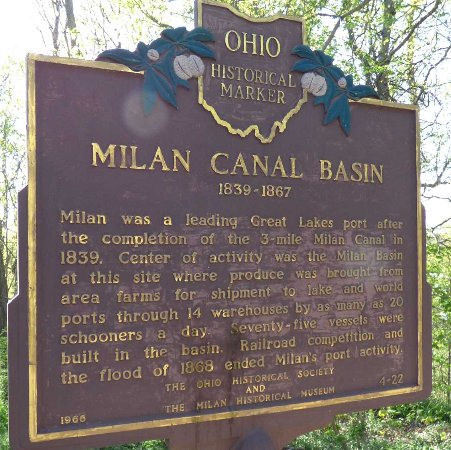 Milan Canal Basin Historic Marker next to Edison Birthplace