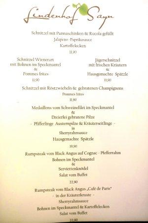 Bendorf, ألمانيا: Speisekarte (Auszug Nr. 1)