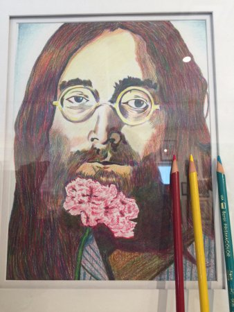 Ormond Beach, FL: Erin Heaphy did this piece of John Lennon with just the 3 color pencils shown here