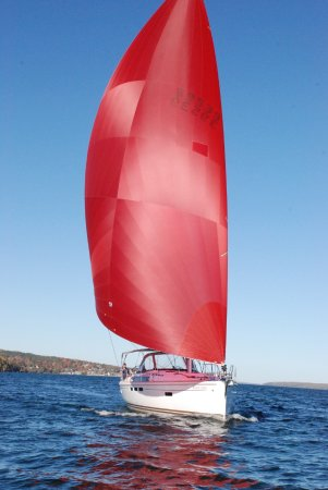 Bayfield, WI: Jeanneau 509 s/v Windwalker sails on a lovely fall afternoon