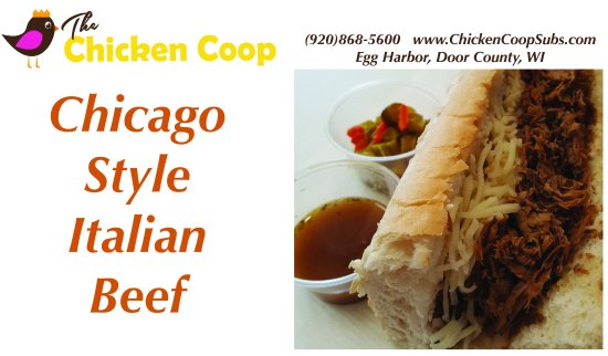 Egg Harbor, WI: Chicago style Italian beef sandwich dripping with beef juice, giardinara & mozzarella
