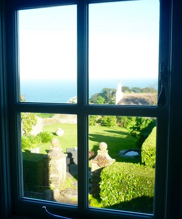 Strete, UK: View from our room over the garden to the sea
