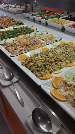 Some of the salads available at dinner.