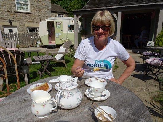 Yorkshire Tea Party: Janet enjoying her mini tea party :-)