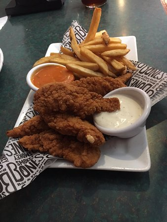 Johnson City, TN: Chicken Fingers with Buffalo and Ranch dips and fries.