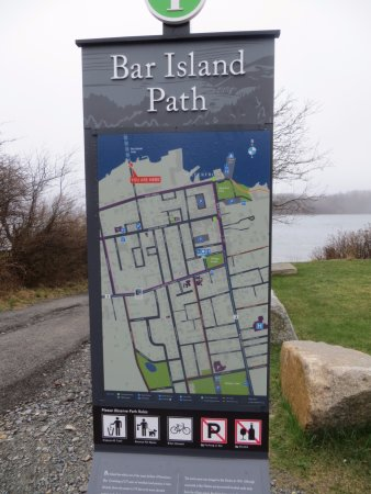 Village Green: Gravel path from West Street to Bar Island which has 1.5 miles of old roads & hiking trails.