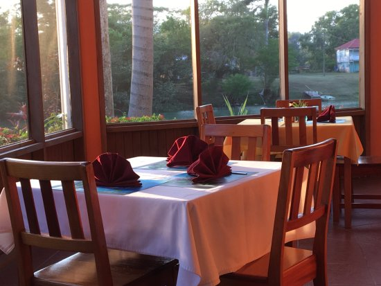 Burrell Boom, Belize: Dining room, with river in background.