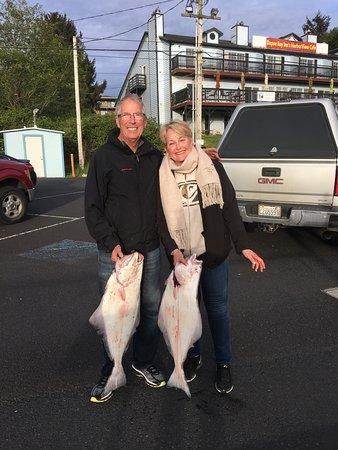 Dockside Charters: Happy with our two (limit 1 each) Halibut!
