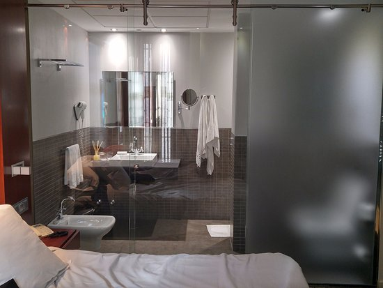Glass bathroom walls afford no privacy at all - Picture of Hotel ...