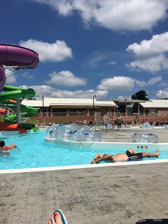 New Albany, IN: Slides are in the center and the lazy river is positioned around it.