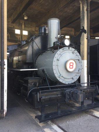 Georgia State Railroad Museum: 1886 Engine 8, Maude the Mule. Note the mule the shop had fabricated
