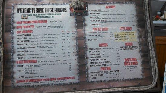 Bunk House Burgers: Menu