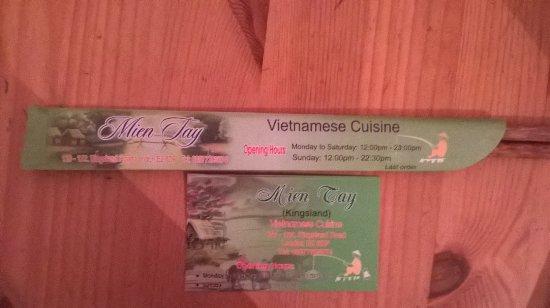 Mien Tay Vietnamese Restaurant chopsticks and card