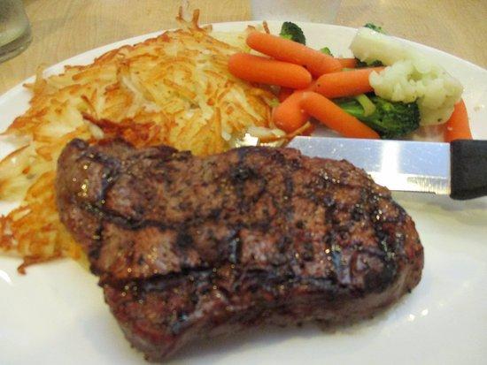 Redlands, CA: tasty, tender sirloin steak and hash browns