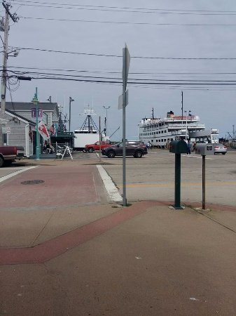 Block Island Ferry: The road to the ferry. The high speed and the traditional ferry are next to each other!