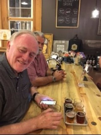 Miner Brewing Company: Ejoying a flight of beers.