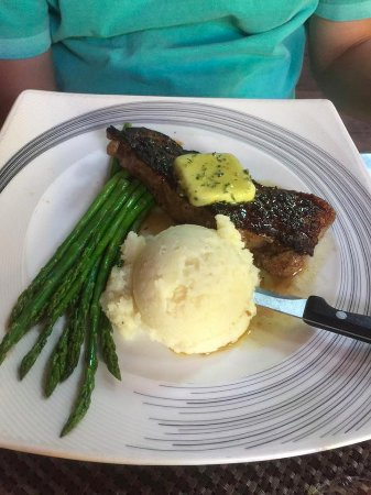 Idyllwild, CA: New York Strip steak with mashed potatoes and asparagus