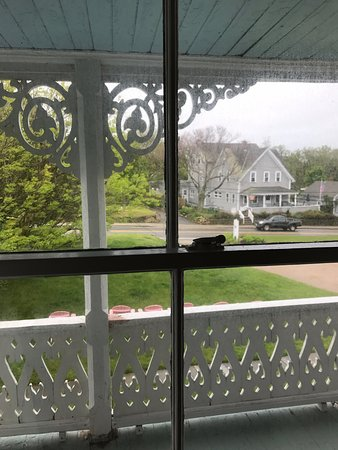 The view of Dodge Street from the upper porch at The Gothic Inn