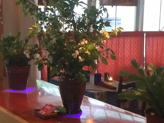 Rochester, VT: apple blossoms in the bar room