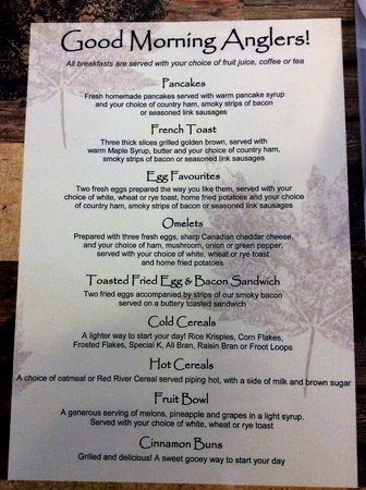 Sioux Lookout, Kanada: Breakfast menu