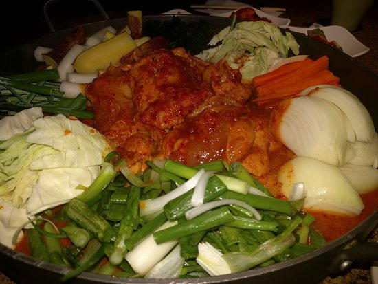Gangnam BBQ: Dalk galbi before cooked
