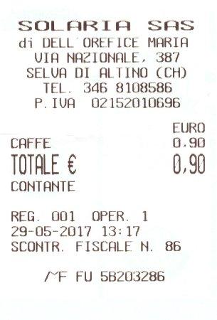 Selva di Altino, Italy: Scontrino caffè