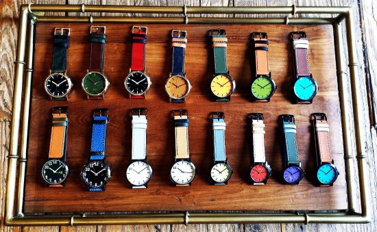 Washington, VA: Colorful watches (2017) in the shop.