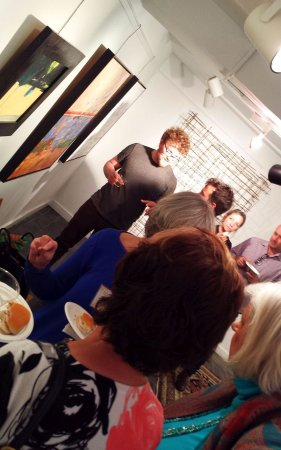 Washington, VA: Crowds of filmmakers at gallery reception for Film Festival (2017).