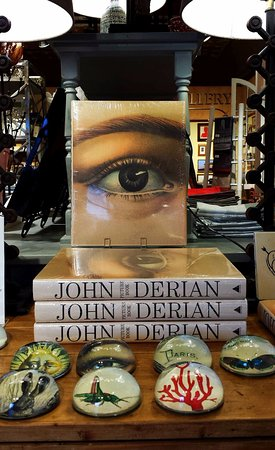 Washington, VA: John Derian Books (signed) and handmade paperweights on display in the shop.