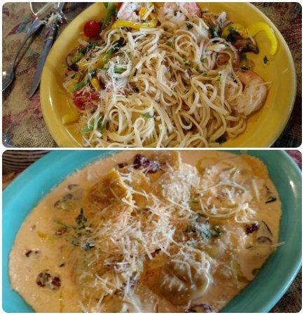 Maiden Rock, WI: Garlic Shrimp Linguini and Portabella Mushroom Ravioli