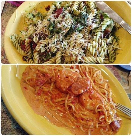 Maiden Rock, WI: Pestro Caprese w/ Shrimp and Spicy Shrimp and Andouille Linguini