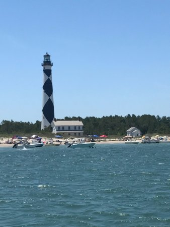 Beaufort, NC: Cape Lookout light station from ferry on Memorial Day Weekend 2017