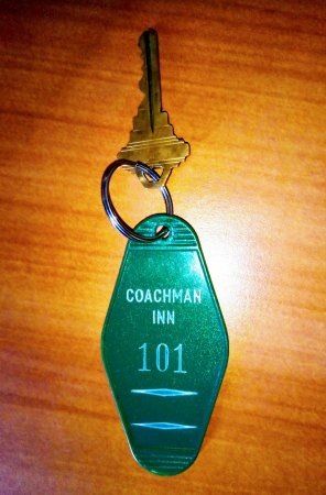 "Coachman Inn: Old-skool room key. If you've read ""1984"" don't worry, Room 101 is actually OK. :-)"