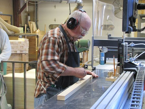 Middlebury, VT: Steve uses the automatic saw.