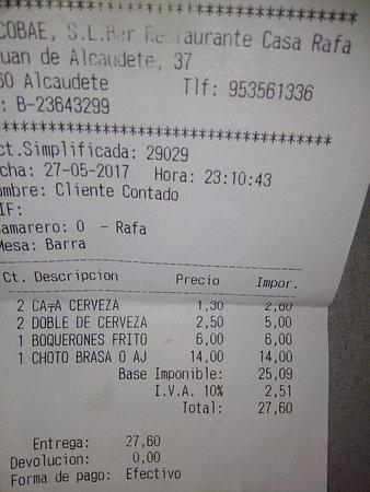 Alcaudete, إسبانيا: cuenta