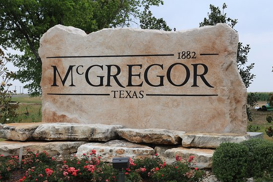 City marker for McGregor, Texas Donated by Boulder Designs
