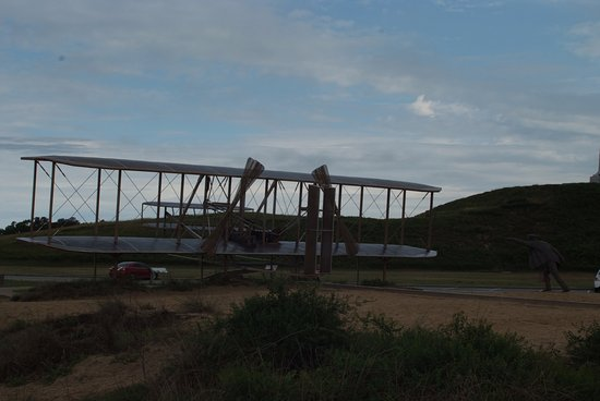 Wright Brothers National Memorial: A mock-up of the Wright Flyer as it first broke ground from the famous picture taken Dec 17, 190