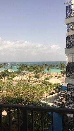 Aruba Marriott Resort & Stellaris Casino: My room view premium ocean view. Pool view at night