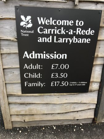 Carrick-A-Rede Rope Bridge: Admission prices
