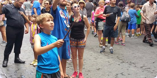 Kissimmee, FL: Family enjoying at Magical Tour at the Wizarding World of Harry Potter at Universal Studios.